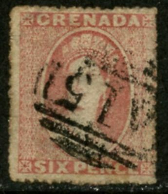 GRENADA Sc#4 SG#6 1863 6p rose Watermarked Small Star Used