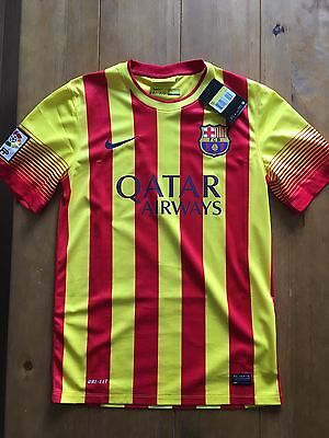 Rare FC BARCELONA Away Shirt 100% Official Small BNWT CATALAN RRP £65 MESSI SALE
