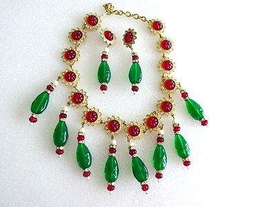 KJL Kenneth Lane vintage India Maharaja Mughal jewel glass necklace earrings set