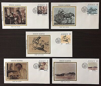 """Jersey #406-10 - Edmund Blampied Paintings FDC on Colorano """"silk"""" Cachets"""
