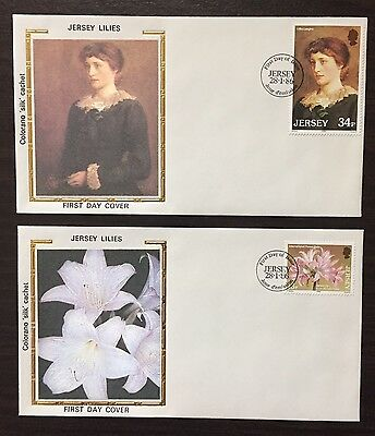 """Jersey #391-2 - Jersey Lilies FDC on Colorano """"silk"""" Cachets"""