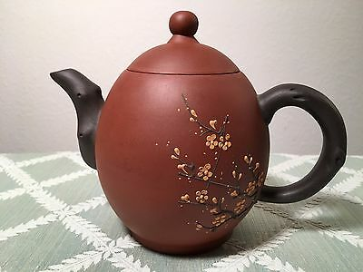 Small Asian Teapot (Antique Vintage Asia China Japan Pottery Tree Flower Signed)
