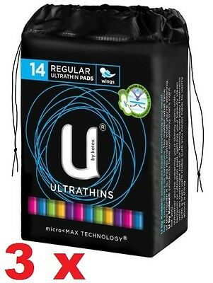 3 x U By Kotex Pads Regular Ultrathin With Wings x14 -Free Ship within Australia