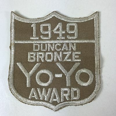 Vtg Original 1949 DUNCAN YO-YO Competition Patch Embroidered Bronze Award Shield