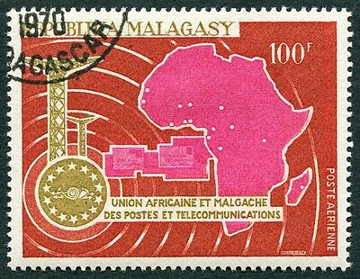 MALAGASY REPUBLIC 1967 100f SG135 used FG UAMPT Anniv AIRMAIL STAMP #W32