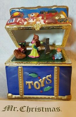 Mr. Christmas Holiday Porcelain Toy Chest Music Box -NEW in Packaging.