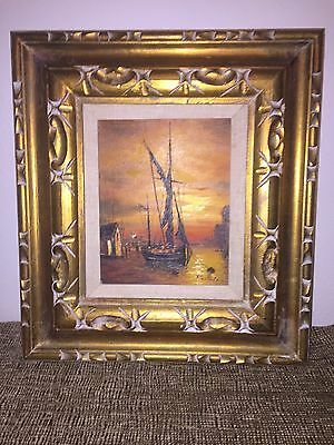 """Ship at Sunset Oil on Canvas in Gilded Frame 17"""" by 18-1/2"""" Frame"""