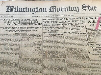 Wilmington Morning Star, Jan. 10-19, 1922 Antique Newspapers,w Orig. Mutt & Jeff