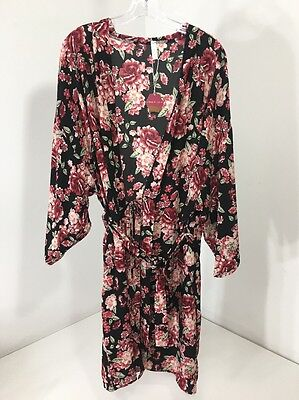 Pinkblush Maternity Women's Floral Delivery/nursing Robe Blk/cranbry Lg Nwt $46