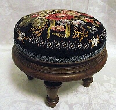 ANTIQUE VICTORIAN American Sm Round Footstool Black Floral Needlepoint Mahogany