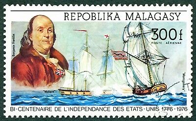 MALAGASY REPUBLIC 1975 300f SG309 used NG American Revolution Bicentenary #W32