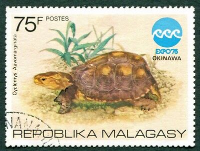 MALAGASY REPUBLIC 1975 75f SG323 used NG Exposition Okinawa Fauna Tortoise #W32