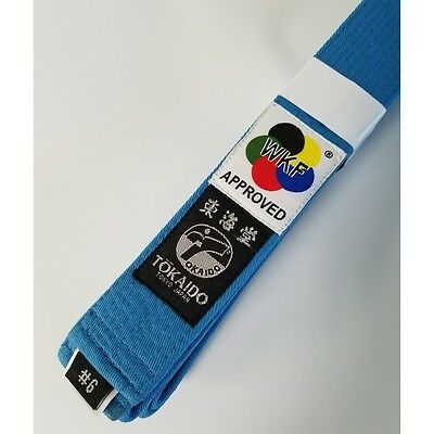 New Tokaido WKF Approved Elite Karate Belt Martial Arts Belt 100% Cotton-SkyBlue