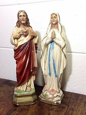 Vintage Plaster Jesus and Mary Statues
