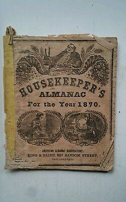 "1870 ANTIQUE BOOK "" HOUSEKEEPERS ALMANAC "" Magazine for Farmers pub Philadelphia"