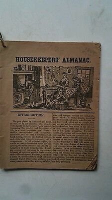 "1888 ANTIQUE BOOK "" HOUSEKEEPERS ALMANAC "" Magazine for Farmers pub Philadelphia"