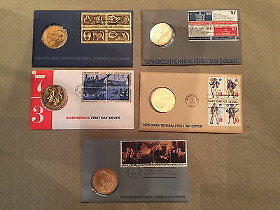 1972, 1973, 1974, 1975, 1976 Bicentennial First Day Cover Commemorative Medals
