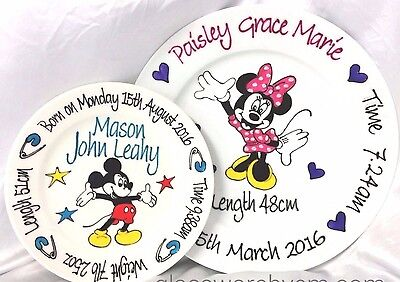 Baby Plate Hand Painted Personalised Minnie or Mickey Mouse design boy or girl