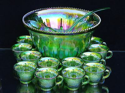 """Indiana Glass Lime Green Carnival """"harvest Grape"""" Princess Punch Bowl W/12 Cups"""