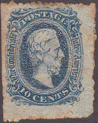 Confederate CSA #11 Ten Cent Stamp Rouletted