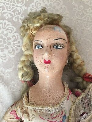"""Rare Old Antique Vintage Doll Paper Mache? Doll Parts 30"""" Nutley Charity"""