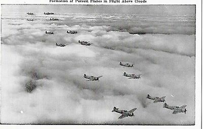 WW2 U.S ARMY Real Photo Postcard - Formation Pursuit Planes Above Clouds -UNUSED