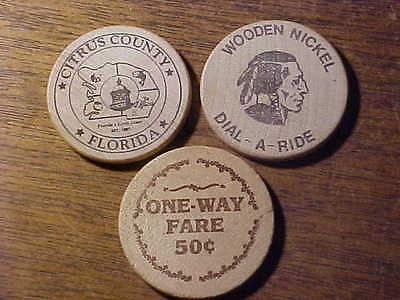 3pc. Lot of Vintage Wooden Nickels *.99c No Reserve*