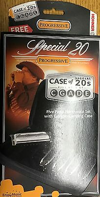 HOHNER SPECIAL 20 Set of 5 HARMONICAS Free Lessons - Case - Key  G, A, C, D, E