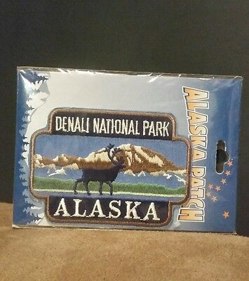 New Denali National Park Alaska Patch Moose and Mountain Iron On Cloth Souvenir
