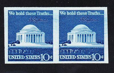 "EFO Scott # 1520b    10cent     ""Jefferson Memorial""   ""Imperf Error""  Pair"