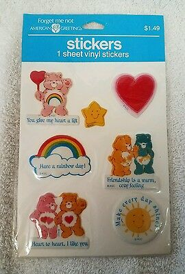 Vintage American Greetings Care Bear Stickers Puffy RARE NOS SCRAPBOOK