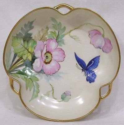 Vintage Hand Painted Nippon Hndld Bowl Pink Flowers Blue Butterfly Gold