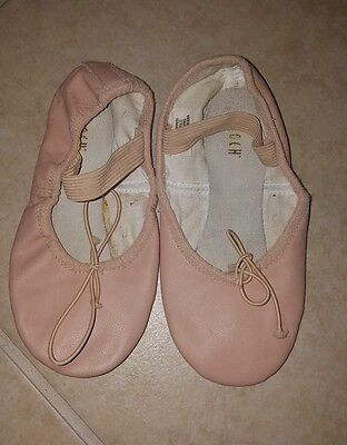 BLOCH girls size 12 D  full sole pink ballet leather dance shoes