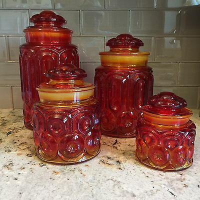 Vtg L E Smith Moon & Stars Amberina Red Orange Set Of 4 Canisters