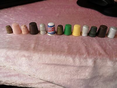 Unwanted Collection Of 13 Vintage Thimbles~Bakelite,brass,metal,plastic & China