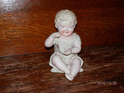 """Vintage Bisque Porcelain Sitting Piano Baby Large 7"""""""