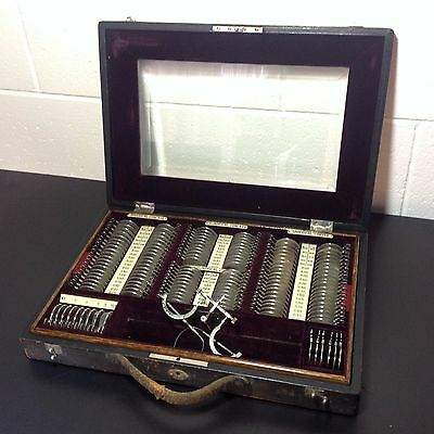 Antique Optometrist Kit In Leather Covered Case