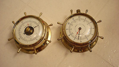 "AIRGUIDE NAUTICAL Clock and Barometer set 4-7/8""  X 2"" DEEP-NICE BUT SOLD AS-IS"