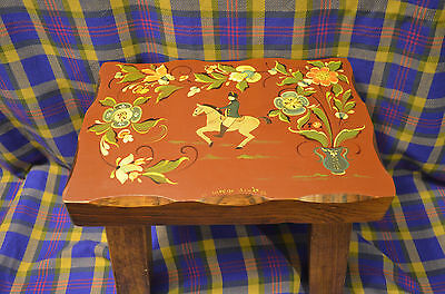 WESTON BOWL MILL WESTN VERMONT Hand Painted RoseMaling w/Horse Footstool