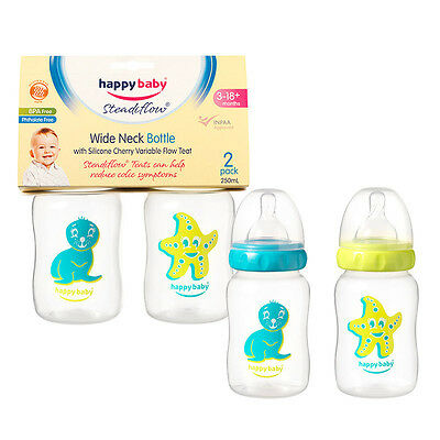 Happy Baby Bottle Wide Neck 250ml - 2 Pack