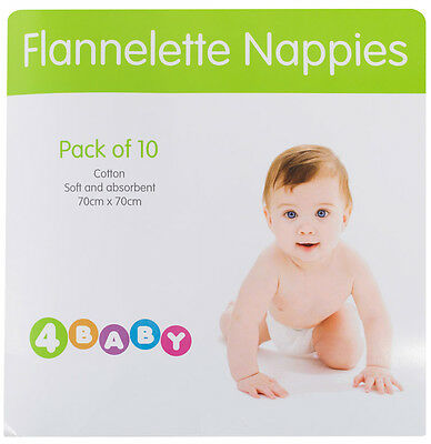 4Baby Flannelette Nappies 10 Pack - White
