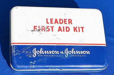 Vintage 1955 Johnson & Johnson First Aid Kit Metal Box/Original Supplies   #1300