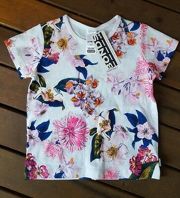 Bonds size 2, 18 - 24 months floral tshirt RARE tropical holiday, hip, hibiscus