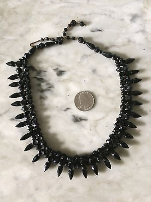 Rare Victorian French Jet Black Mourning Choker Gothic Necklace