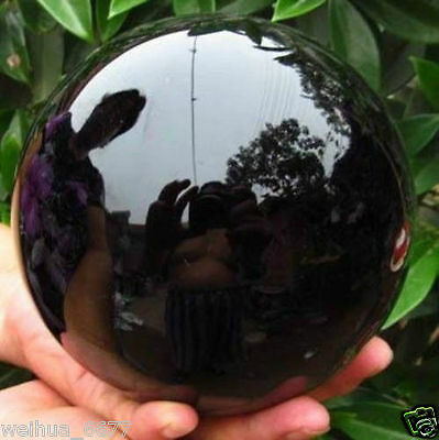 80MM+stand Natural Black Obsidian Sphere Large Crystal Ball Healing Stone //