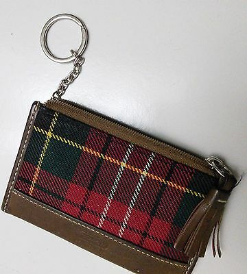 Women's Coach Change Purse Card Holder Plaid Keychain Credit Card Wallet Leather