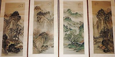 set of 4 Beautiful Antique Asian Oriental Long Silk scroll hand Painting signed
