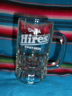 "VINTAGE  ""DRINK HIRES ROOT BEER"" MUG STEIN GLASS W / White Lettering"