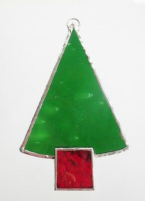 Stained Glass Christmas Decoration Tree Red tub handmade in Australia