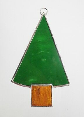 Stained Glass Christmas Decoration Tree Gold tub handmade in Australia